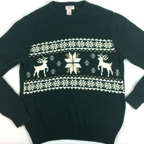d1d7fdb3ecf320 Dockers Other - Mens Christmas sweater Green with Deer snowflakes